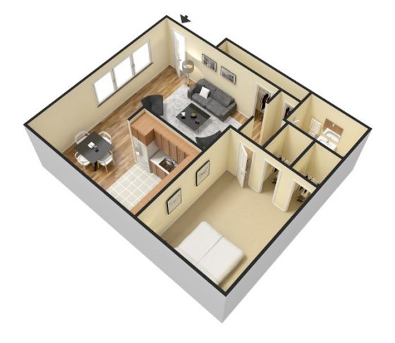 3D 1 Bedroom 1 Bathroom. 600-700 sq. ft.