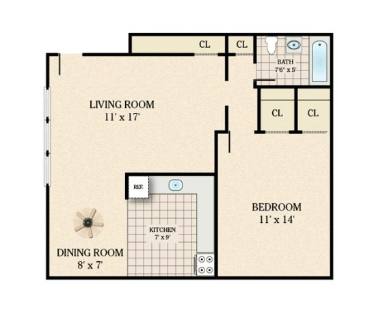 600 sq ft apartment floor plan for Rental apartment plans
