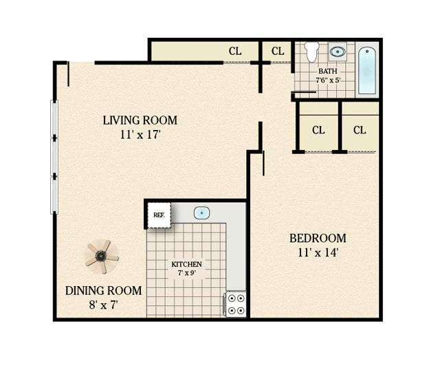 Floor plans kennedy gardens apartments for rent in lodi nj for 700 sq ft apartment design