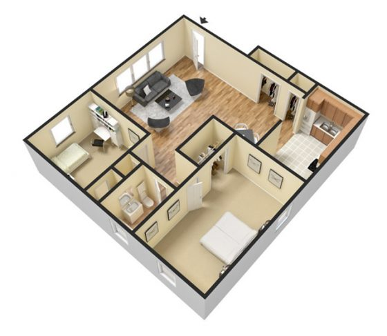 3D 2 Bedroom 1 Bathroom. 800-850 sq. ft.